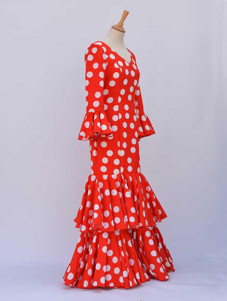 BeFlamenca. Vestido de faralaes rojo lunares blancos