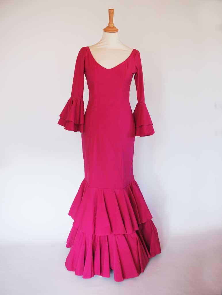 Traje de flamenca típico popelín buganvilla