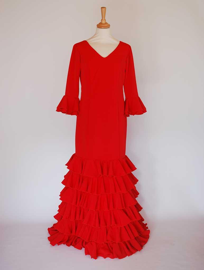 Traditional spanish dress. Red, flills dots. Flamenco. Feria de Abril