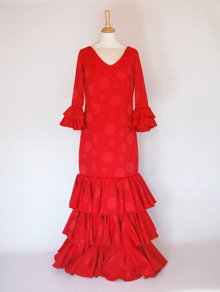 Traditional spanish dress. Red, flills dots. Flamenco. Feria