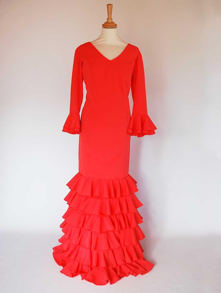 Traje de flamenca crespón coral volantes pequeños manga larga