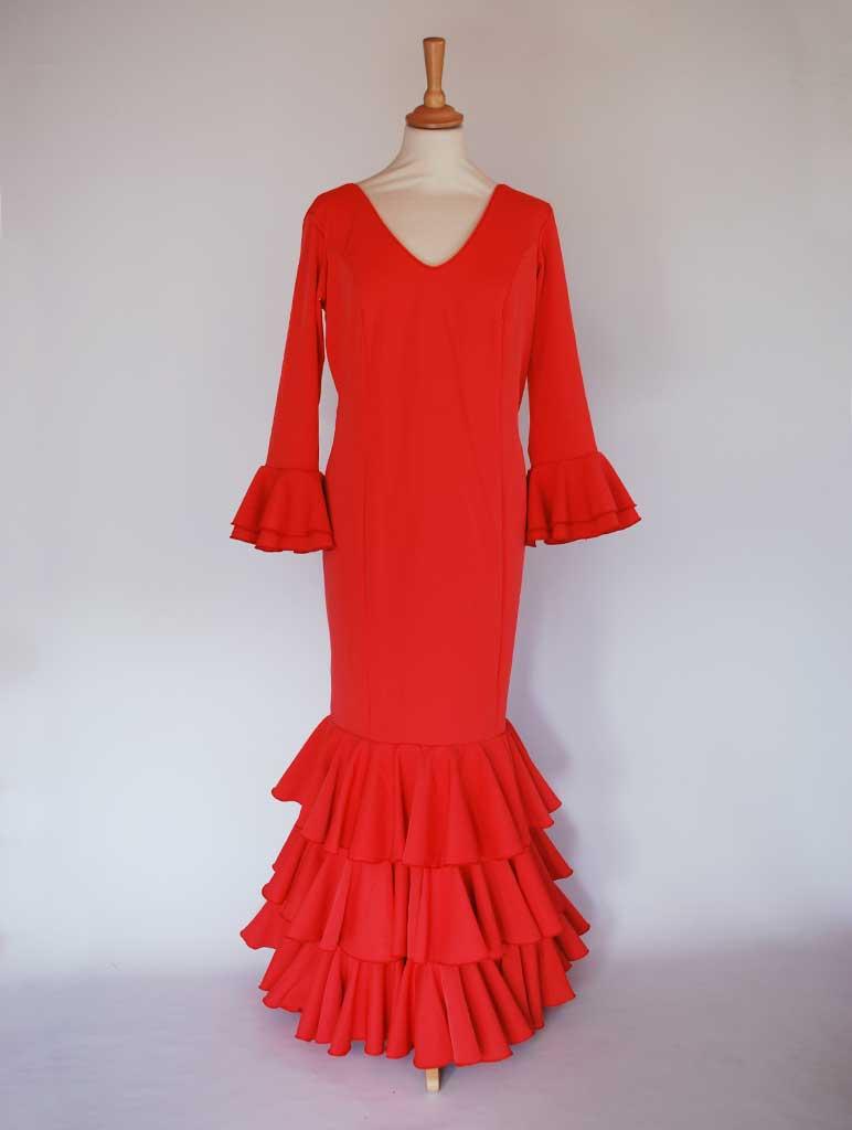 Traje de flamenca elástico rojo volantes de capote
